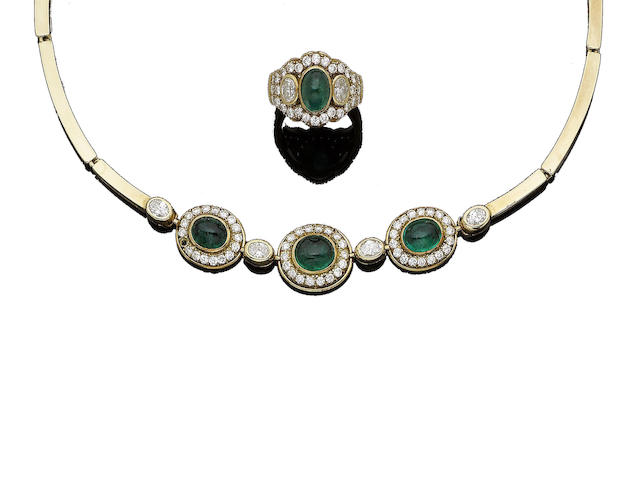 An emerald and diamond necklace and ring (2)