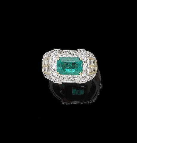 An emerald and diamond dress ring, by Alvestile