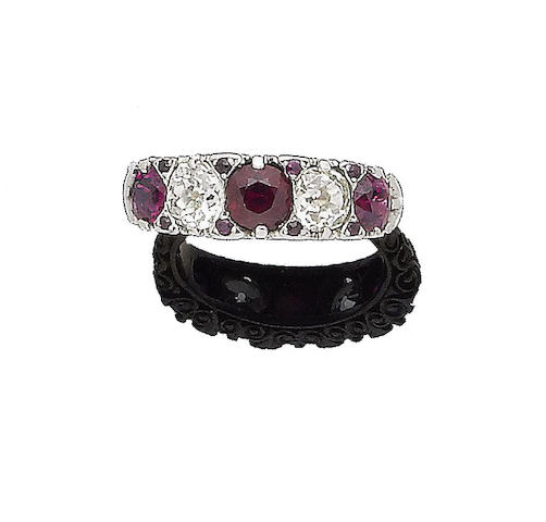 A ruby and diamond five-stone ring