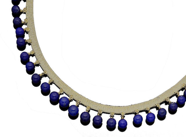 A late 19th century lapis lazuli fringe necklace