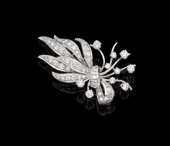 A diamond spray brooch