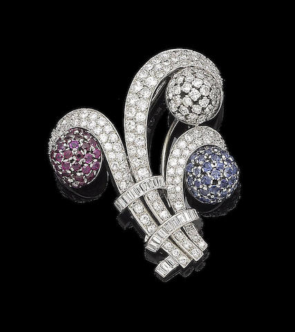 A ruby, sapphire and diamond spray brooch,
