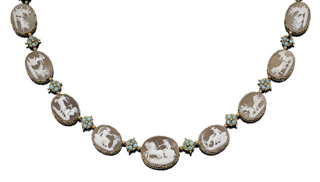 A mid 19th century shell cameo and turquoise necklace