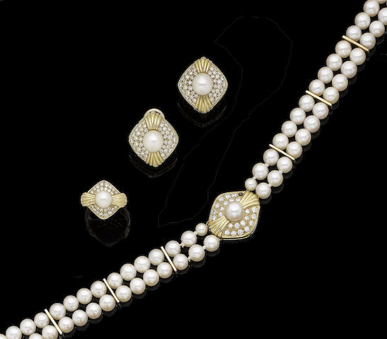 A double-strand cultured pearl and diamond-set necklace, earring and ring suite (3)