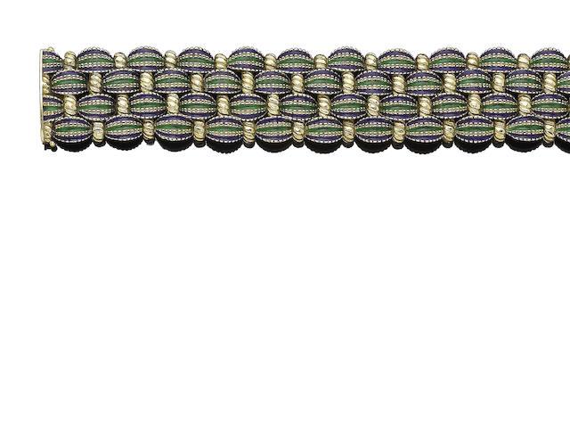 An enamel bracelet