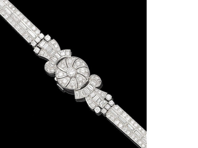 A diamond cocktail wristwatch
