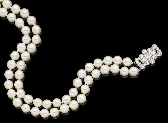 A two-strand cultured pearl necklace and a diamond clasp