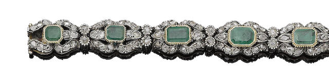 An emerald and diamond bracelet