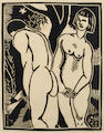 Horace Asher Brodzky (Australian, 1885-1969) Two Figures Linocut, 1919, on wove, with margins, 240 x 190mm (9 1/2 x 7 1/2in)(B)