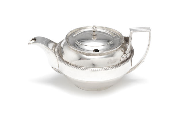 A George III silver sauce jug by Rebecca Emes & Edward Barnard, London 1810; together with two mustards and a silver-plated spoon  (4)