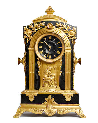 An impressive 19th century ormolu mounted architectural mantel clock, in the neo-classical style  Retailed by Hall & Co, Manchester