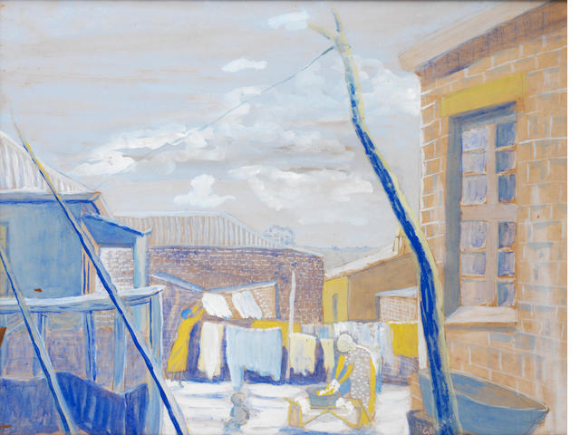 Gerard Sekoto (South African, 1913-1993) Wash day