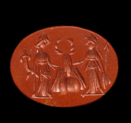 A Roman red jasper intaglio