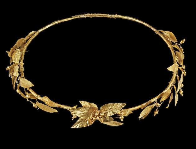 A Hellenistic gold olive wreath