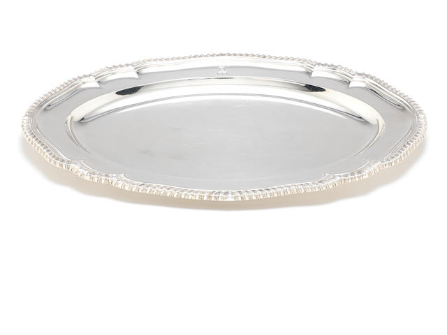 A George III silver oval plate by Smith and Sharp, London 1786