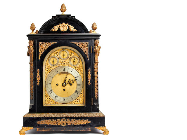 A 19th century ebonised and ormolu musical quarter striking bracket clock, with Westminister/Whittington chimes   Retailed by C. W. Balmforth. Oswestry