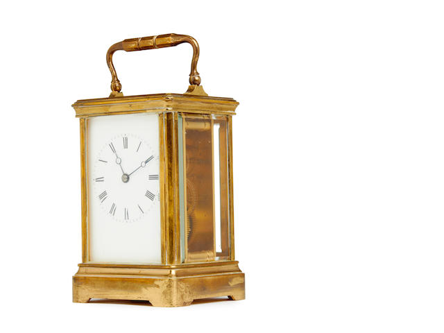 A late 19th century French Corniche cased carriage timepiece Drocourt, Paris