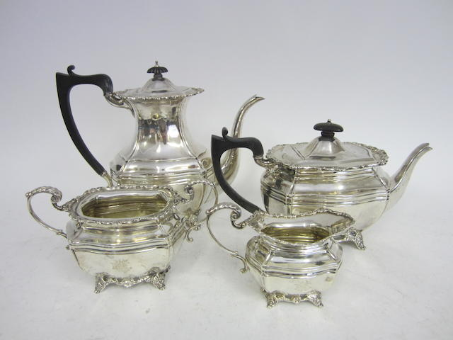A silver four piece tea service London 1914  (4)