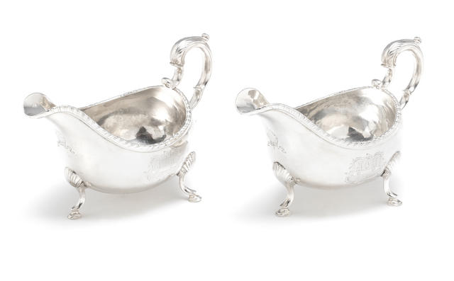 A pair of George III Irish silver sauceboats by Joseph Jackson, Dublin 1774  (2)