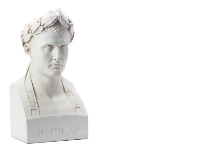 A white resin bust of Napoleon as a Roman Emperor