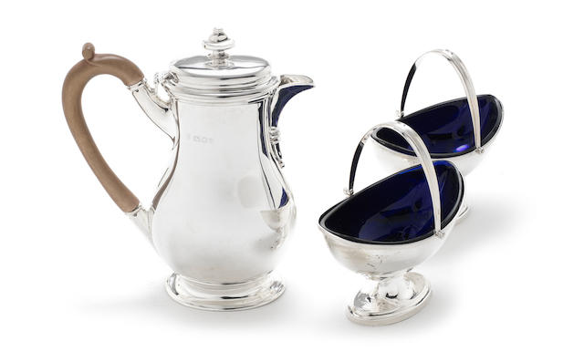 A silver hot water pot by Charles Stuart Harris & Sons, London 1919 and other items (7)