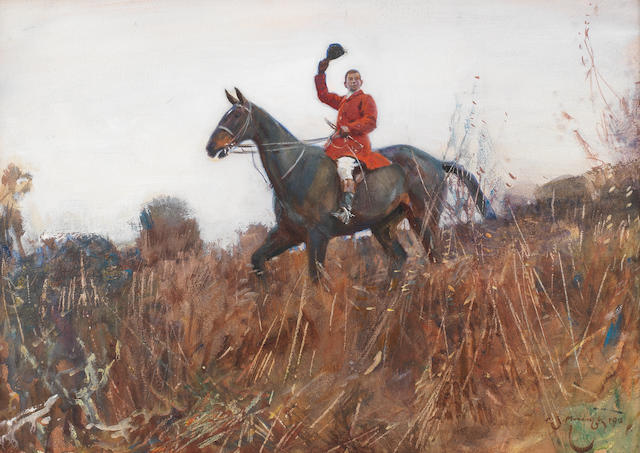 Sir Alfred James Munnings, PRA, RWS (British, 1878-1959) Calling them in