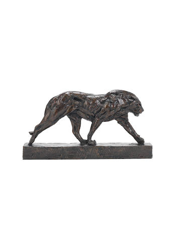 Dylan Lewis (South African, born 1964) 'Walking Lion Maquette II' 28 x 52 x 8.5cm (11 x 20 1/2 x 3 3/8in).