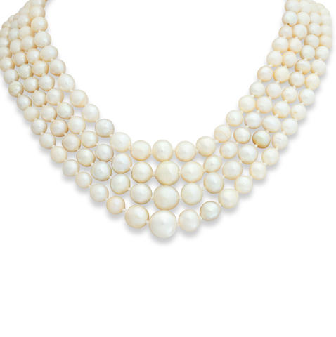 A four-row pearl necklace