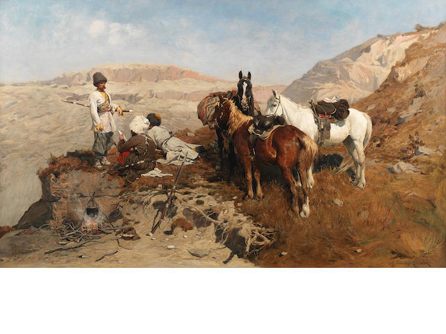 Alfred von Wierusz-Kowalski (Polish, 1849-1915) The mountain patrol