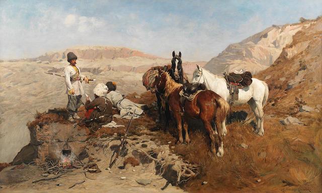 Alfred von Wierusz-Kowalski (Polish, 1849-1915) The mountain patrol