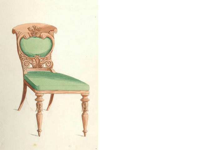 "FURNITURE DESIGNS ""Designs for Furniture"", 65 hand-coloured plates, [c.1835]"