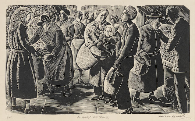Iain MacNab (British, 1890-1967) Saturday Shopping  Wood engraving printed in black, 1951, on wove, signed, titled and numbered 1/25 in pencil, with wide margins, 147 x 247mm (5 3/4 x 9 3/4in)(B)