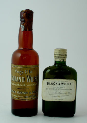 Very Old Highland Whisky (half) <BR /> Black & White (quarter)