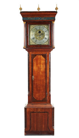 An 18th century oak and mahogany 8 day longcase clock, with rare moon date dial aperture in dial David Collier, Gatley.
