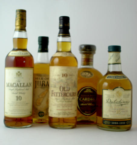 The Macallan-10 year old<BR /> Isle of Jura-10 year old<BR /> Old Fettercairn-10 year old<BR /> Cardhu-12 year old<BR /> Dalwhinnie Centenary-15 year old