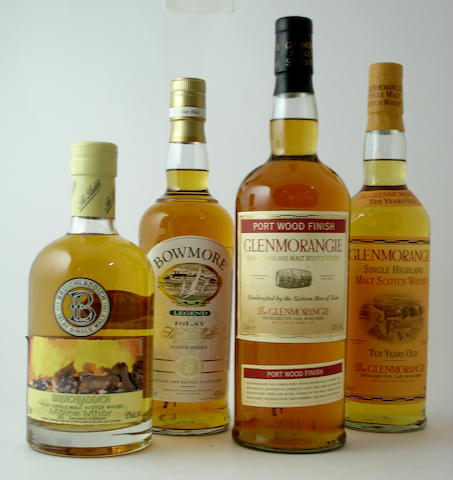 Bruichladdich Moine Mhor 3D<BR /> Bowmore Legend (2) <BR /> Glenmorangie Port Wood Finish (2) <BR /> Glenmorangie-10 year old