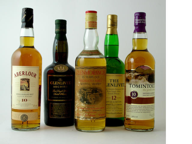 Aberlour-10 year old<BR /> The Glenlivet Archive<BR /> The Glenlivet-12 year old<BR /> Glenmorangie-10 year old<BR /> Tomintoul-10 year old<BR /> Mixed spirits (6):