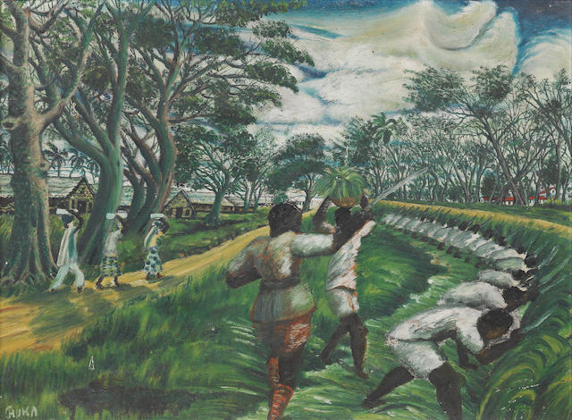 Benedict Chukwukadibia Enwonwu M.B.E (Nigerian, 1917-1994) Workers in the fields