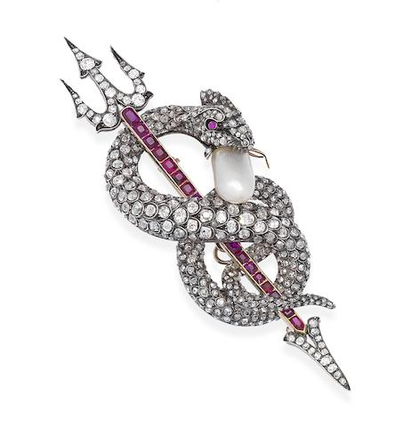 A natural pearl, diamond and ruby serpent brooch,