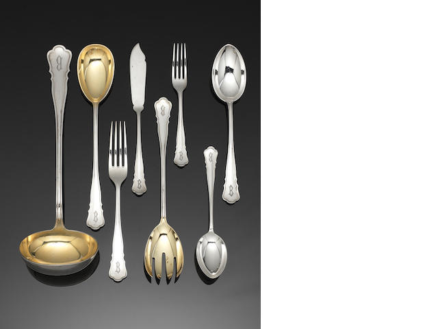 A German silver table service of flatware and cutlery incuse maker / retailer HANSEN, incuse 800 mark