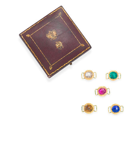 A set of five gold, enamel and gem-set dress ornaments, probably Deccan,