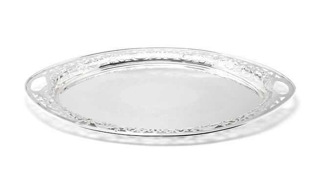 An Edwardian silver two-handled tray by William Mammatt & Son, Sheffield 1904