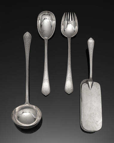 A Victorian silver Beaded Nurled and engraved pattern table service of flatware by George Adams, London 1876
