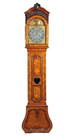 An 18th century Dutch marquetry 8 day longcase clock with late 17th century movement Isaac Goddard, London CC.1684-99