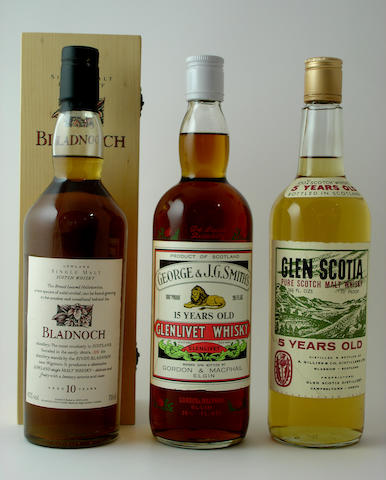 Bladnoch-10 year old<BR /> Glenlivet-15 year old<BR /> Glen Scotia-5 year old