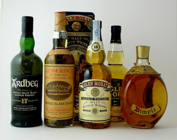 Ardbeg-17 year old<BR /> Glenmorangie Grand Slam Dram-10 year old<BR /> Glen Moray-16 year old<BR /> Glen Moray<BR /> Dimple
