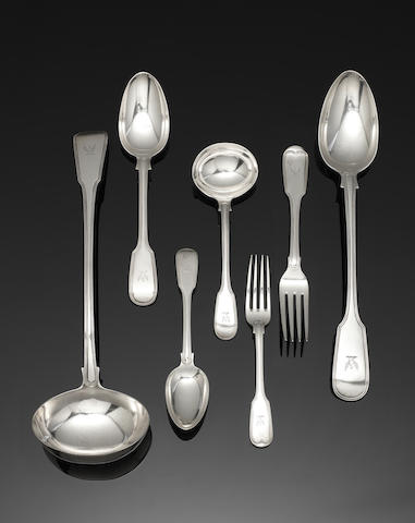 A George IV / William IV silver Fiddle and Thread table service of  flatware the  majority by William Eley, London 1828 and  1830, nine pieces by William Chawner London 1822 and 1828  (qty)