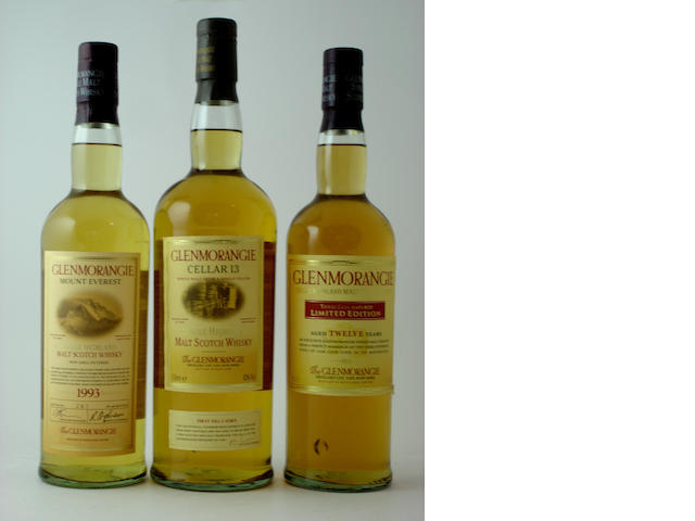Glenmorangie Mount Everest-10 year old-1993<BR /> Glenmorangie Three Cask Matured-12 year old<BR /> Glenmorangie Cellar 13