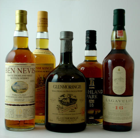 Ben Nevis-10 year old-1992<BR /> Glenmorangie Millennium Malt-12 year old<BR /> Glenmorangie Traditional<BR /> Highland Park-18 year old<BR /> Lagavulin-16 year old