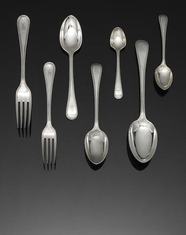 A Victorian silver Old English bead pattern table service of flatware by Charles Boyton, London 1897